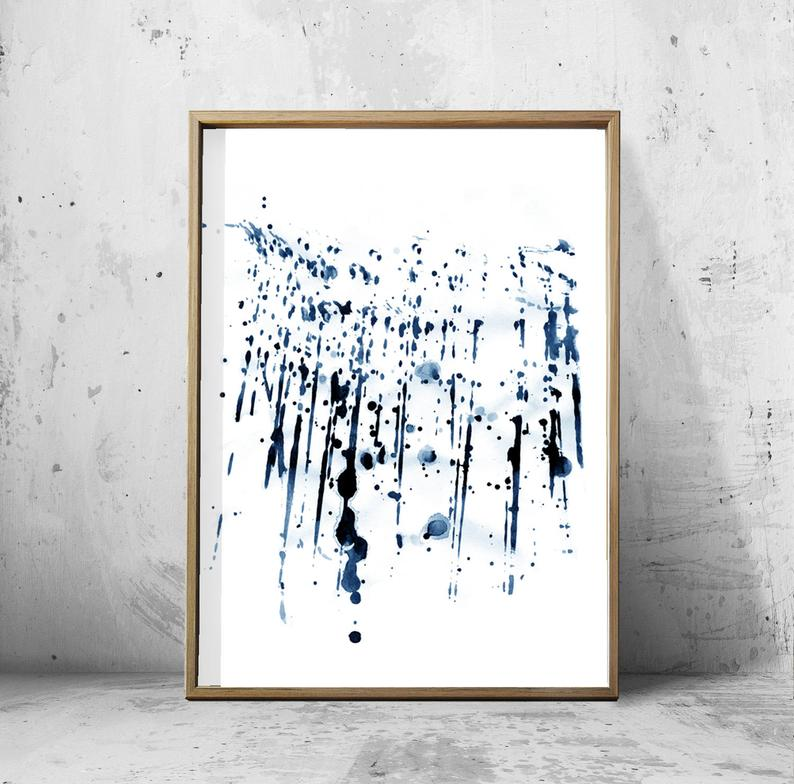BLUE INK SPRAY WALL ART